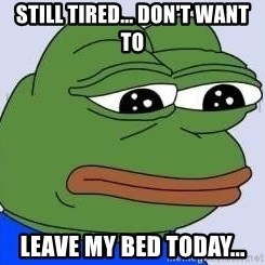 Sad Frog Color - still tired... don't want to leave my bed today...