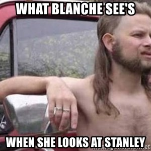 White Trash Hillbilly - what blanche see's when she looks at Stanley