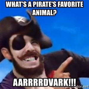 You are a pirate - What's a pirate's favorite animal?  Aarrrrdvark!!!