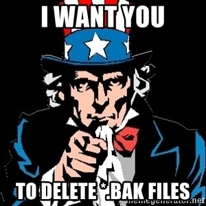 I Want You - I WANT YOU TO DELETE *.BAK FILES
