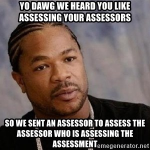Yo Dawg - yo dawg we heard you like assessing your assessors so we sent an assessor to assess the assessor who is assessing the assessment