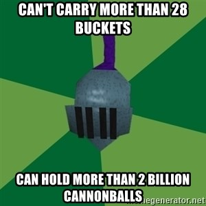 Runescape Advice - can't carry more than 28 buckets can hold more than 2 billion cannonballs