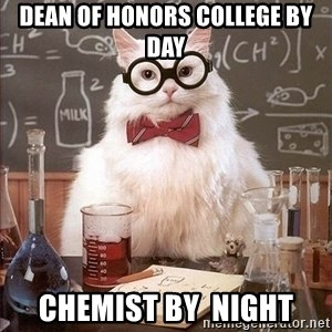 Chemistry Cat - dean of honors college by day chemist by  night