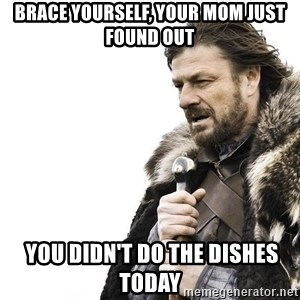 Winter is Coming - brace yourself, your mom just found out  you didn't do the dishes today