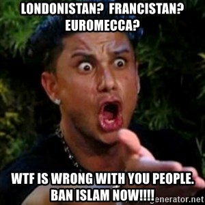 profe el tambien estaba hablando - londonistan?  francistan?  euromecca? wtf is wrong with you people.     ban islam now!!!!