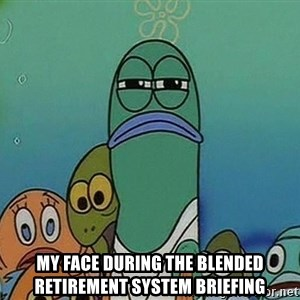 suspicious spongebob lifegaurd -  My face during the blended retirement system briefing