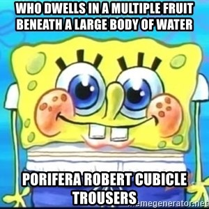 Epic Spongebob Face - who dwells in a multiple fruit beneath a large body of water porifera robert cubicle trousers
