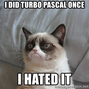 Grumpy cat good - I did Turbo pascal once i hated it