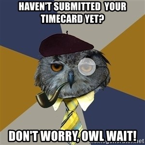 Art Professor Owl - Haven't SUBMITTED  your timecard yet? don't worry, owl wait!