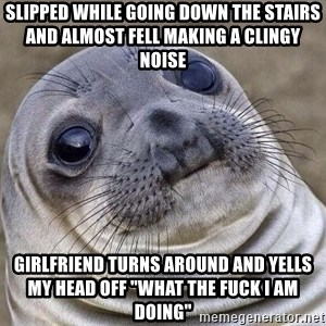 """Awkward Seal - Slipped while GOINg down the STAIRS and almost fell making a clingy NOISE Girlfriend turns around and yells my head off """"what the fuck i am doing"""""""