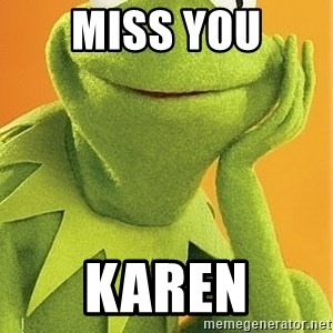 Kermit the frog - miss you Karen