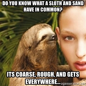sexy sloth - Do you know what A sloth and sand have in common? its Coarse, Rough, and gets everywhere...
