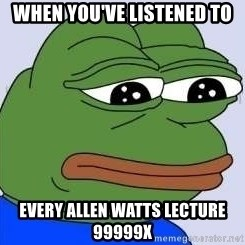 Sad Frog Color - When you've listened to Every allen watts lecture 99999x