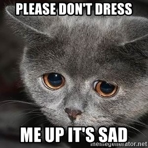 sad cat - Please don't dress Me up it's sad