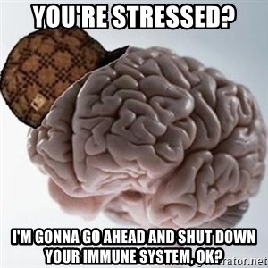 Scumbag Brain - You're stressed? I'm gonna go ahead and shut down your immune system, ok?