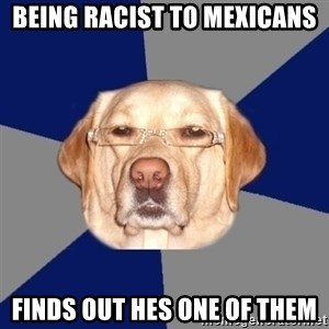 Racist Dawg - being racist to mexicans finds out hes one of them