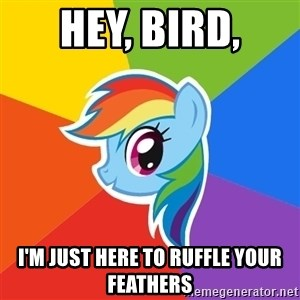 Rainbow Dash - Hey, bird, I'm just here to ruffle your feathers