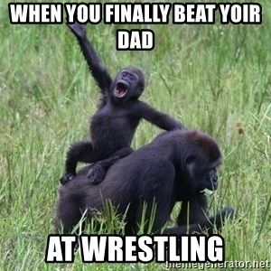 Happy Gorilla - When you finally beat yoir dad  At wrestliNg