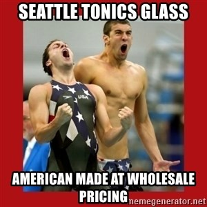 Ecstatic Michael Phelps - seattle tonics glass american made at wholesale pricing