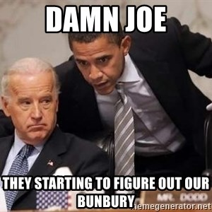 Obama Biden Concerned - Damn JOE they starting to figure out our Bunbury
