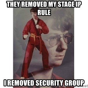 Karate Kid - They removed my stage IP rule I removed security group