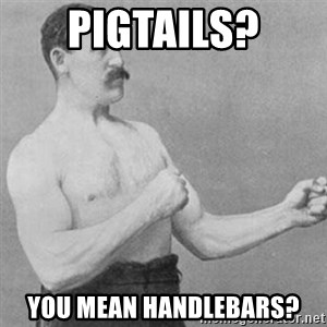 overly manly man - PIGTAILS? YOU MEAN HANDLEBARS?