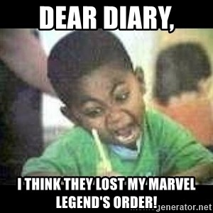 Black kid coloring - Dear DIARY,  I think they Lost my marvel legend's order!