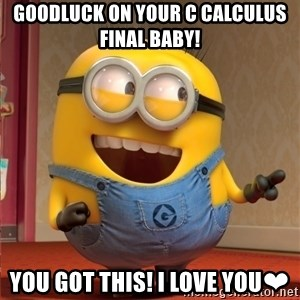 dave le minion - Goodluck on your c calculus  Final baby! You got this! I love you❤