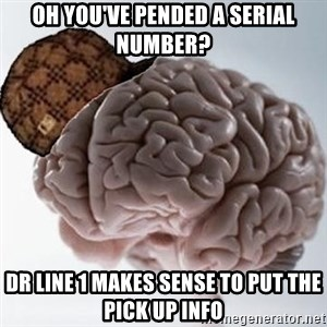 Scumbag Brain - oh you've pended a serial number? DR line 1 makes sense to put the pick up info