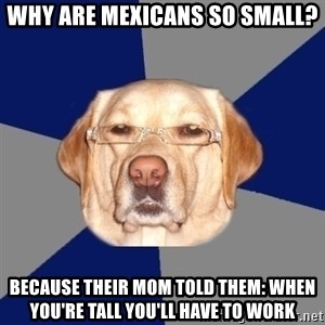 Racist Dawg - why are mexicans so small? because their mom told them: When you're tall you'll have to work