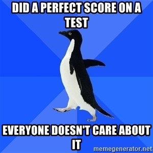 Socially Awkward Penguin - did a perfect score on a test everyone doesn't care about it
