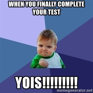Success Kid - when you finally complete your test yois!!!!!!!!!