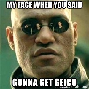 what if i told you matri - My face when yOu said Gonna get gEico