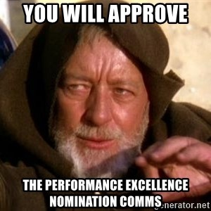 JEDI KNIGHT - You will approve  THE PERFORMANCE EXCELLENCE NOMINATION COMMS