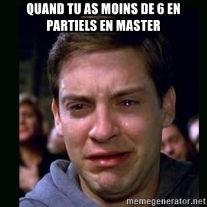 crying peter parker - Quand tu as moins de 6 en partiels en master