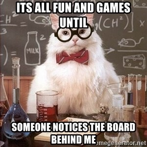 Chemistry Cat - its all fun and games until someone notices the board behind me
