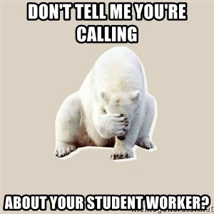 Bad RPer Polar Bear - don't tell me you're calling  about your student worker?