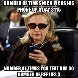 Hillary Text - Number of times nick picks his phone up a day 3115 Number of times you text him 30 nUmber of replies 3