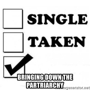 single taken checkbox -  bringing down the partriarchy