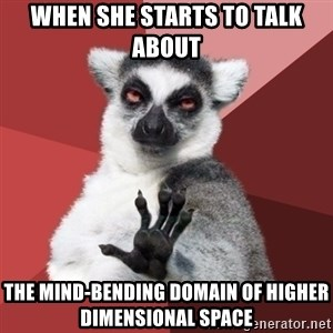Chill Out Lemur - when she starts to talk about the mind-bending domain of higher dimensional space