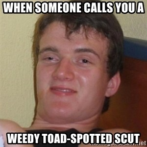 Really highguy - WHEN SOMEONE CALLS YOU A  WEEDY TOAD-SPOTTED SCUT