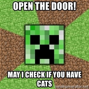 Minecraft Creeper - open the door! may i check if you have cats