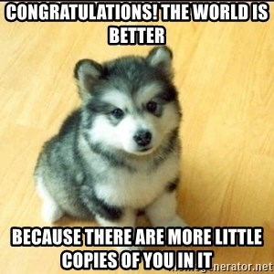 Baby Courage Wolf - congratulations! THE WORLD IS BETTER  because there are more little copies of you in it