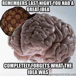 Scumbag Brain - remembers last night you had a great idea completely forgets what the idea was