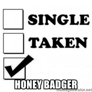single taken checkbox -  Honey Badger