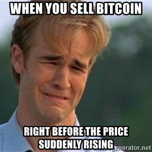 Crying Man - When you sell bitcoin right before the price suddenly rising