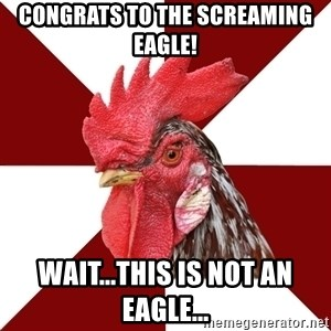 Roleplaying Rooster - Congrats to the screaming eagle! Wait...this is not an eagle...