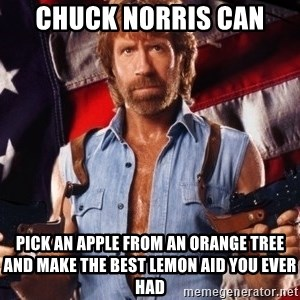 Chuck Norris  - chuck norris can pick an apple from an orange tree and make the best lemon aid you ever had