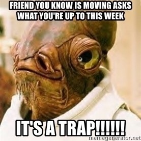 Admiral Ackbar - Friend you know is moving asks what you're up to this week It's A Trap!!!!!!