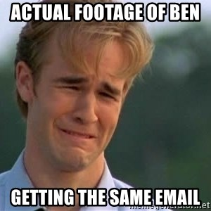 James Van Der Beek - Actual footage of Ben   Getting The same email
